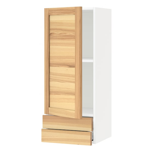 METOD / MAXIMERA Wall cabinet with door/2 drawers, white/Torhamn ash, 40x100 cm