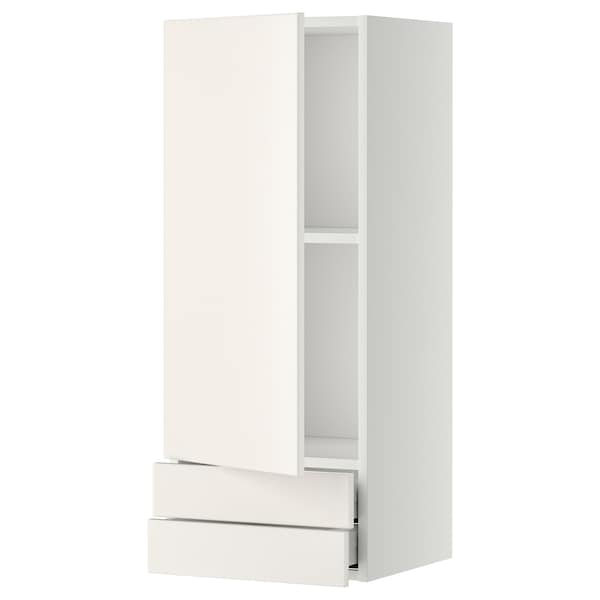 METOD / MAXIMERA Wall cabinet with door/2 drawers, white/Veddinge white, 40x100 cm