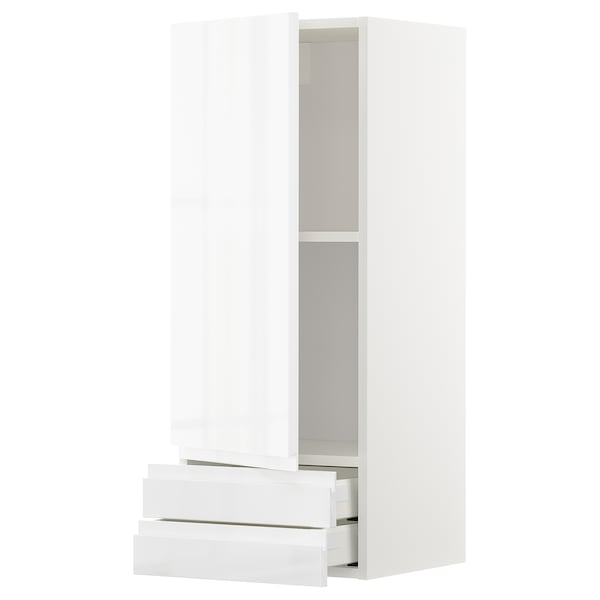 METOD / MAXIMERA Wall cabinet with door/2 drawers, white/Voxtorp high-gloss/white, 40x100 cm