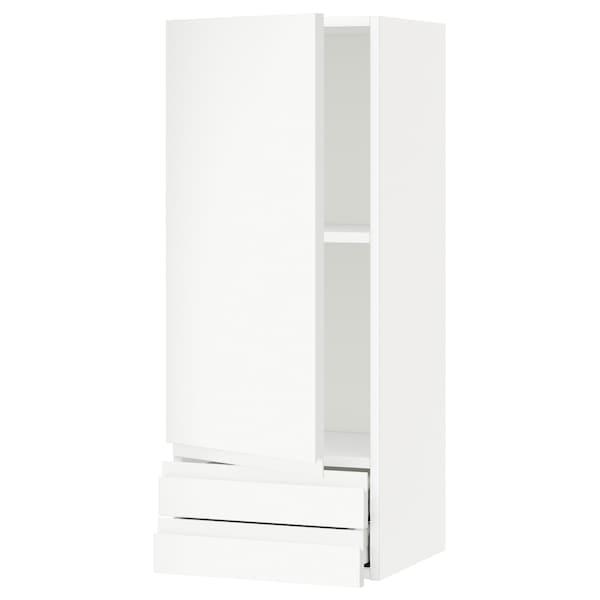METOD / MAXIMERA Wall cabinet with door/2 drawers, white/Voxtorp matt white, 40x100 cm