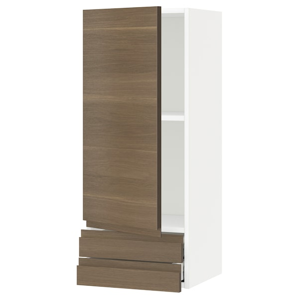 METOD / MAXIMERA Wall cabinet with door/2 drawers, white/Voxtorp walnut effect, 40x100 cm