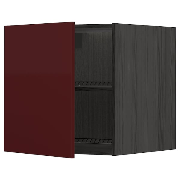 METOD top cabinet to fridge/freezer black Kallarp/high-gloss dark red-brown 60.0 cm 61.6 cm 60.0 cm
