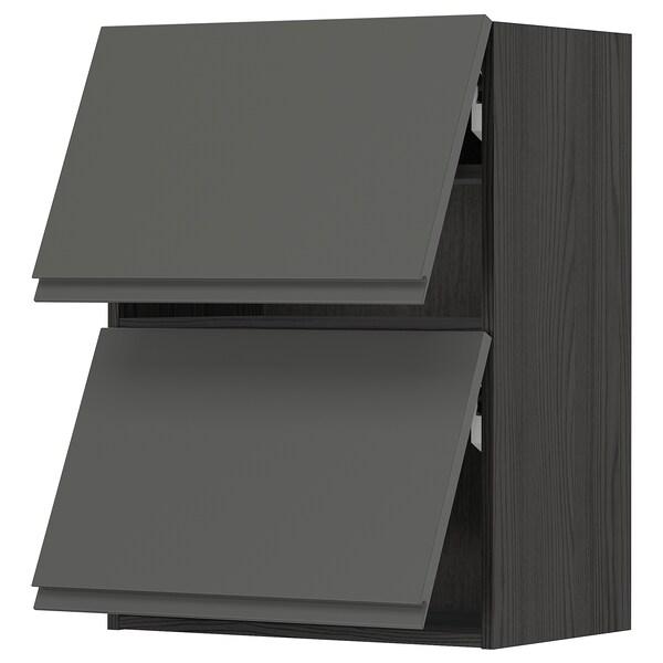 METOD خزانة حائط أفقية ٢ باب/فتح بالضغط, أسود/Voxtorp رمادي غامق, 60x80 سم