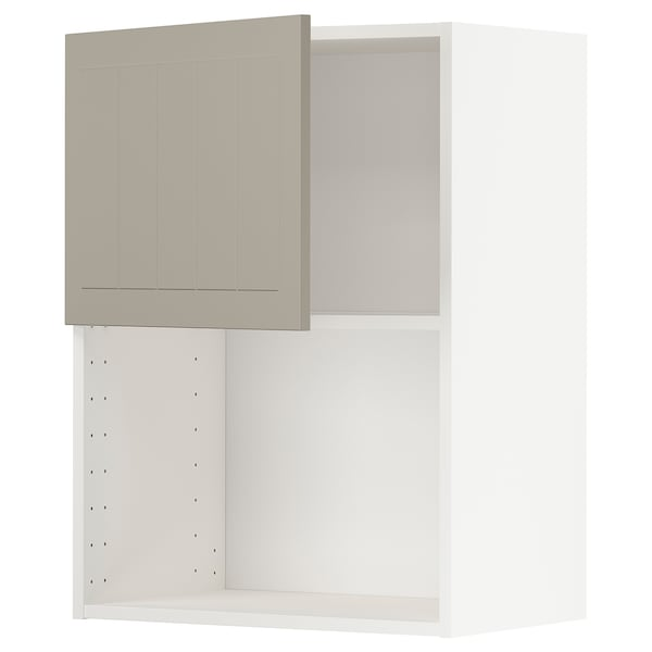 METOD Wall cabinet for microwave oven, white/Stensund beige, 60x80 cm