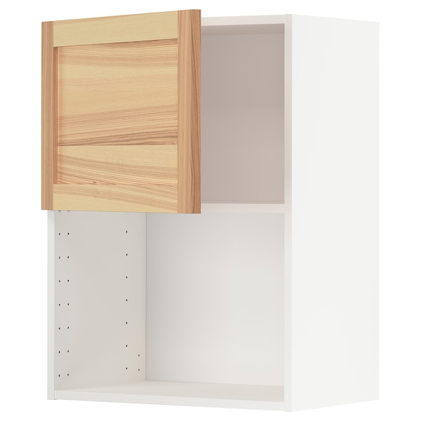 METOD Wall cabinet for microwave oven, white/Torhamn ash, 60x80 cm