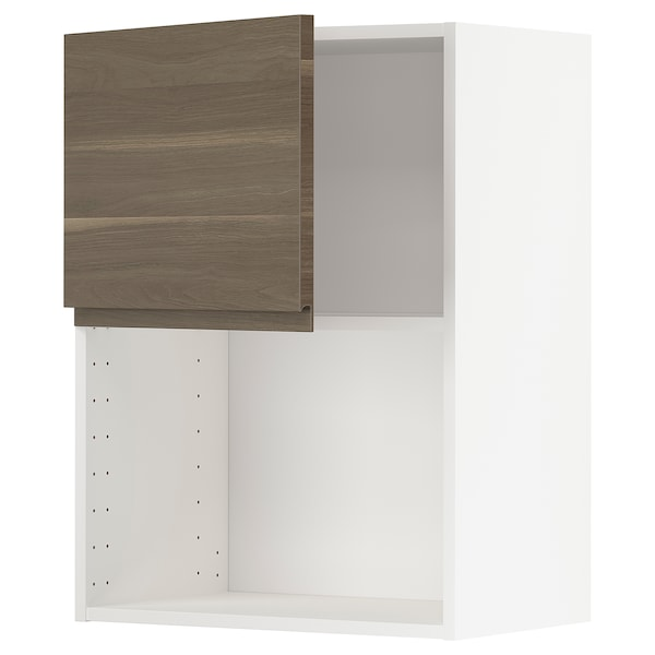 METOD Wall cabinet for microwave oven, white/Voxtorp walnut effect, 60x80 cm