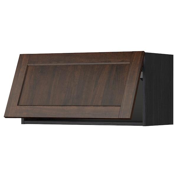 METOD خزانة حائط أفقية مع آلية فتح بالقفل, أسود/Edserum بني, 80x40 سم