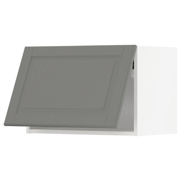METOD Wall cabinet horizontal w push-open, white/Bodbyn grey, 60x40 cm