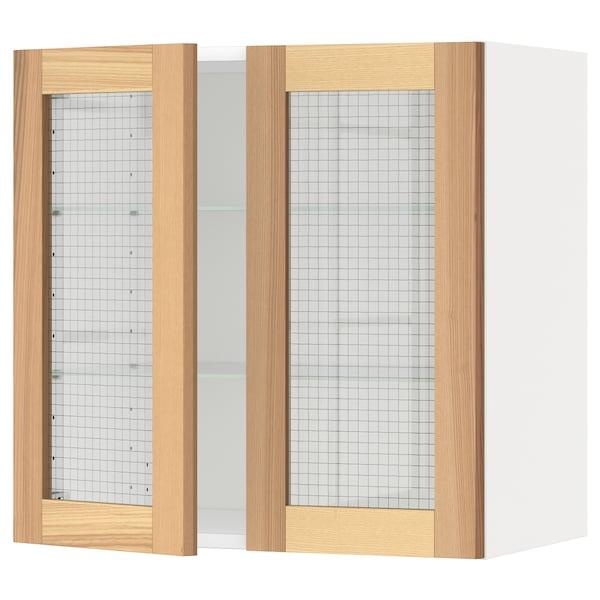 METOD خزانة حائط مع أرفف/بابين زجاجية, أبيض/Torhamn رماد, 60x60 سم