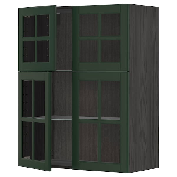 METOD wall cabinet w shelves/4 glass drs black/Bodbyn dark green 80.0 cm 38.9 cm 100.0 cm