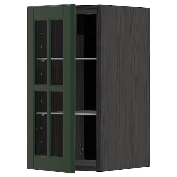 METOD خزانة حائط مع أرفف/باب زجاجي, أسود/Bodbyn أخضر غامق, 30x60 سم