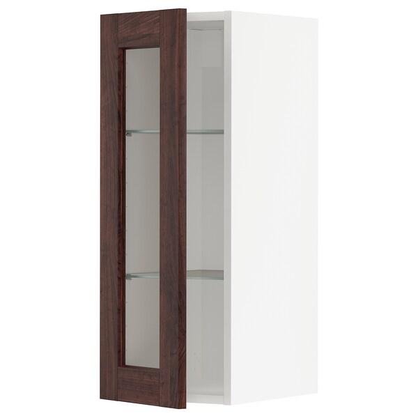 METOD wall cabinet w shelves/glass door black/Edserum brown 30.0 cm 38.6 cm 37.0 cm 80.0 cm