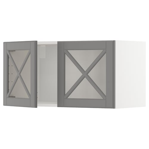 METOD wall cabinet with 2 glass doors white/Bodbyn grey 80.0 cm 38.9 cm 40.0 cm