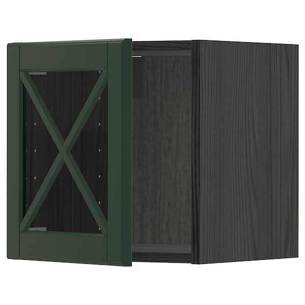 METOD Wall cabinet with glass door, black/Bodbyn dark green, 40x40 cm