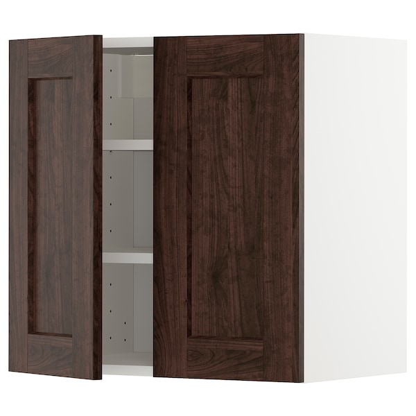 METOD wall cabinet with shelves/2 doors white/Edserum brown 60.0 cm 38.6 cm 60.0 cm