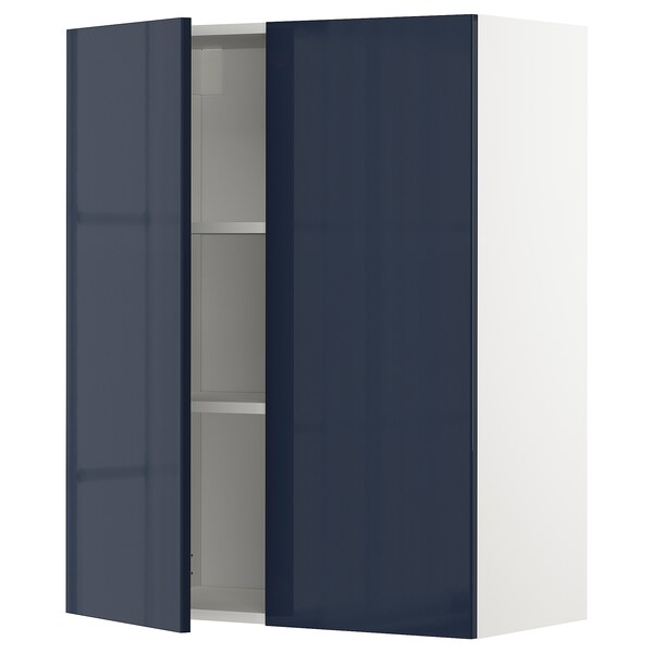 METOD خزانة حائط مع أرفف/بابين, أبيض/Järsta أسود-أزرق, 80x100 سم