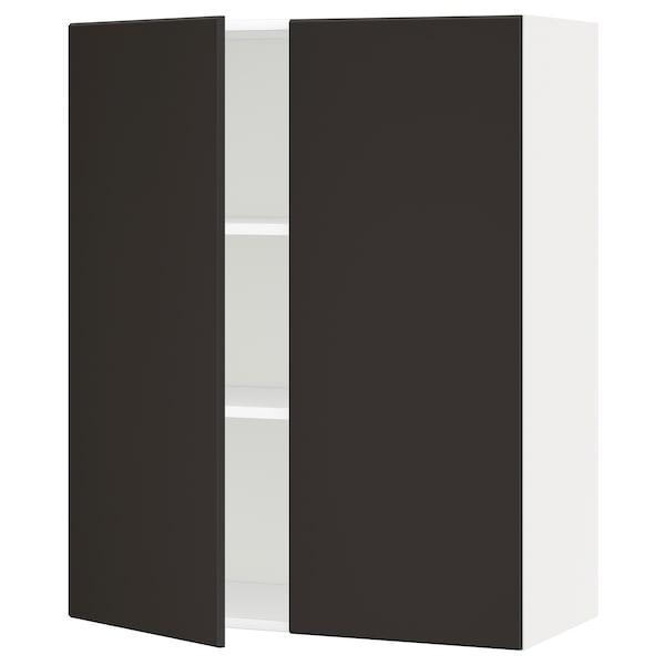 METOD خزانة حائط مع أرفف/بابين, أبيض/Kungsbacka فحمي, 80x100 سم
