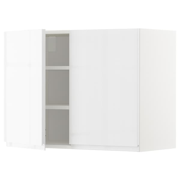 METOD Wall cabinet with shelves/2 doors, white/Voxtorp high-gloss/white, 80x60 cm