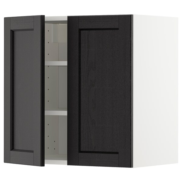 METOD wall cabinet with shelves/2 doors white/Lerhyttan black stained 60.0 cm 38.6 cm 60.0 cm