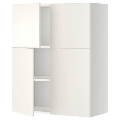 METOD خ. قاعدة مع أرفف/4 أبواب, أبيض/Veddinge أبيض, 80x100 سم