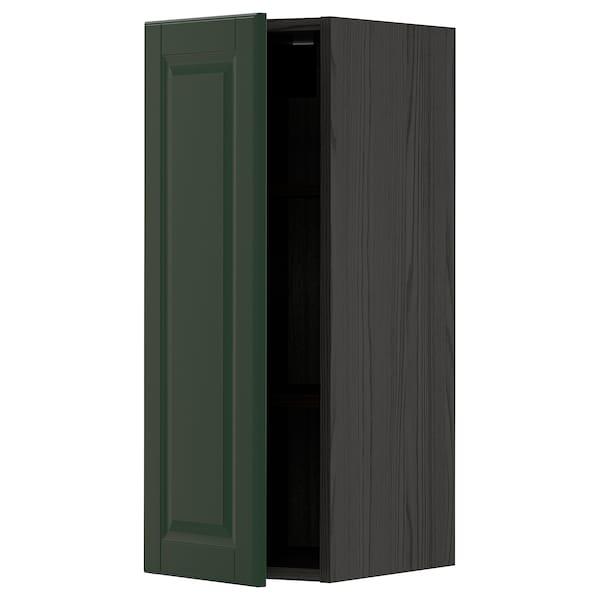 METOD خزانة حائط مع أرفف, أسود/Bodbyn أخضر غامق, 30x80 سم