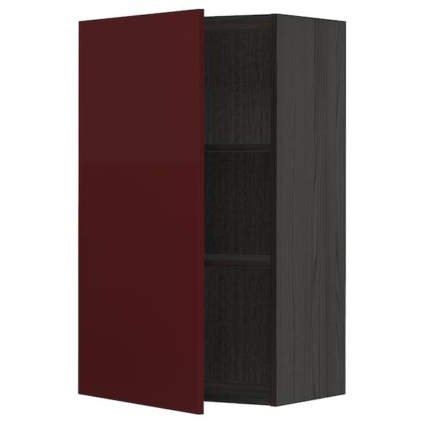 METOD Wall cabinet with shelves, black Kallarp/high-gloss dark red-brown, 60x100 cm