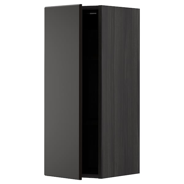 METOD Wall cabinet with shelves, black/Kungsbacka anthracite, 30x80 cm