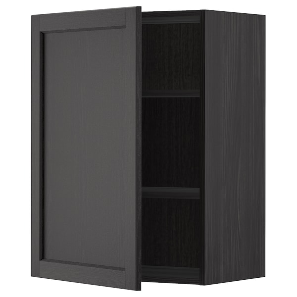 METOD Wall cabinet with shelves, black/Lerhyttan black stained, 60x80 cm
