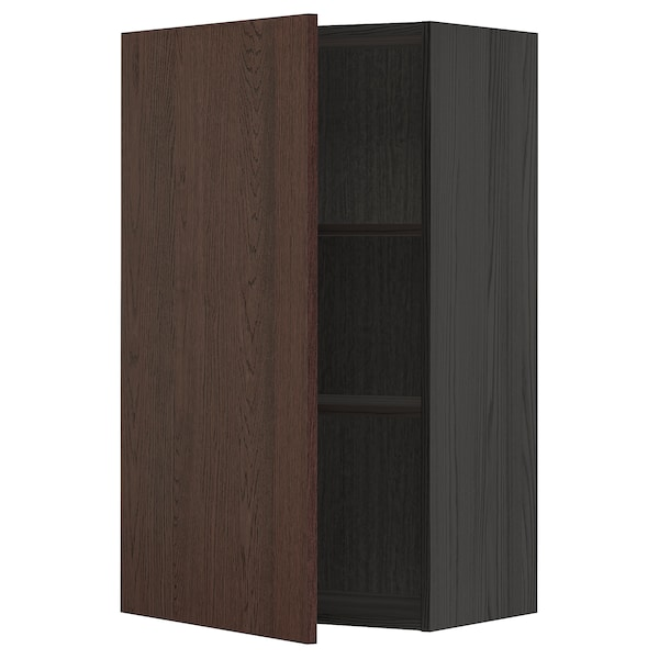 METOD Wall cabinet with shelves, black/Sinarp brown, 60x100 cm