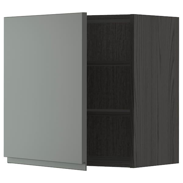 METOD Wall cabinet with shelves, black/Voxtorp dark grey, 60x60 cm