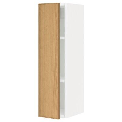 METOD خزانة حائط مع أرفف, أبيض/Ekestad سنديان, 20x80 سم