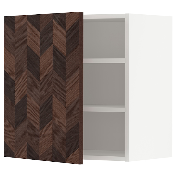 METOD Wall cabinet with shelves, white Hasslarp/brown patterned, 60x60 cm
