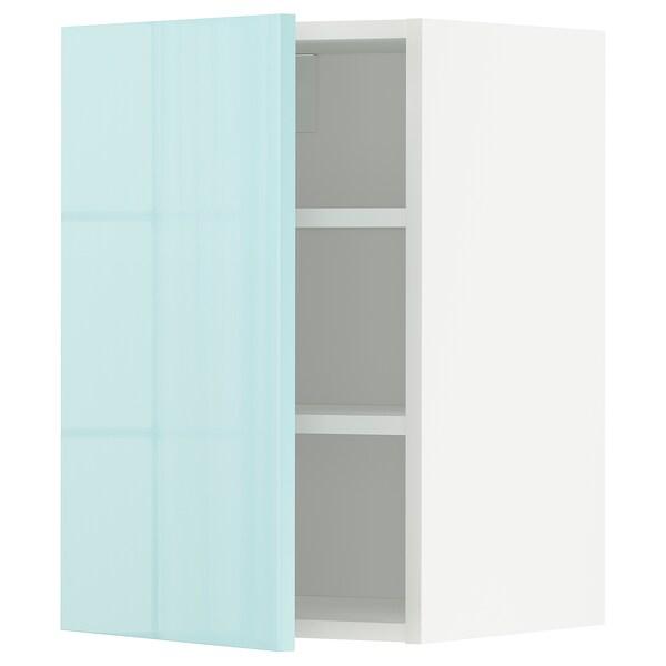 METOD Wall cabinet with shelves, white Järsta/high-gloss light turquoise, 40x60 cm