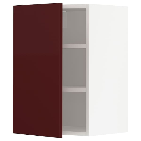 METOD Wall cabinet with shelves, white Kallarp/high-gloss dark red-brown, 40x60 cm