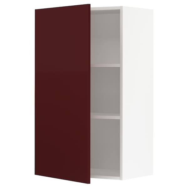 METOD Wall cabinet with shelves, white Kallarp/high-gloss dark red-brown, 60x100 cm