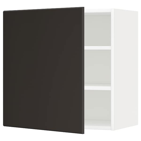 METOD Wall cabinet with shelves, white/Kungsbacka anthracite, 60x60 cm