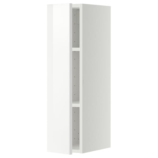 METOD Wall cabinet with shelves, white/Ringhult white, 20x80 cm