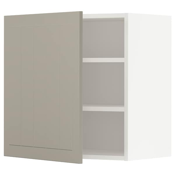 METOD Wall cabinet with shelves, white/Stensund beige, 60x60 cm