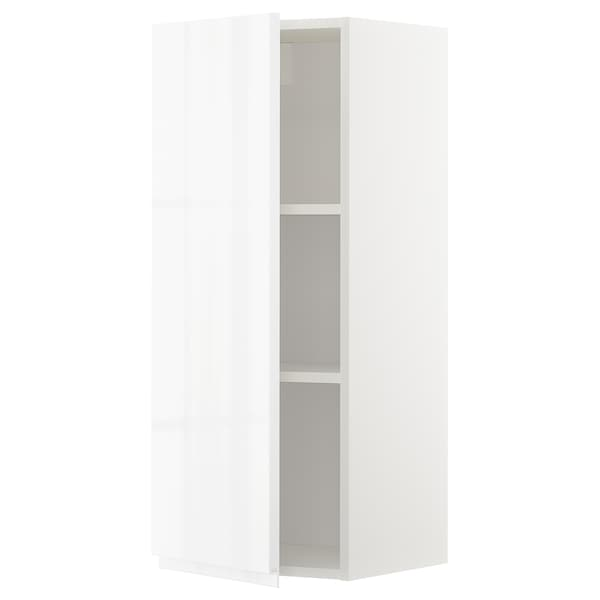METOD Wall cabinet with shelves, white/Voxtorp high-gloss/white, 40x100 cm