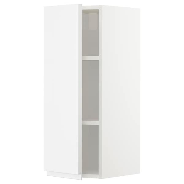 METOD Wall cabinet with shelves, white/Voxtorp high-gloss/white, 30x80 cm