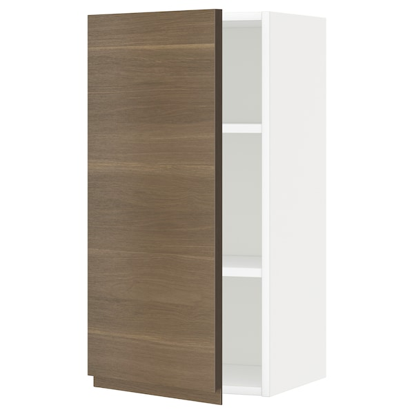 METOD Wall cabinet with shelves, white/Voxtorp walnut effect, 40x80 cm
