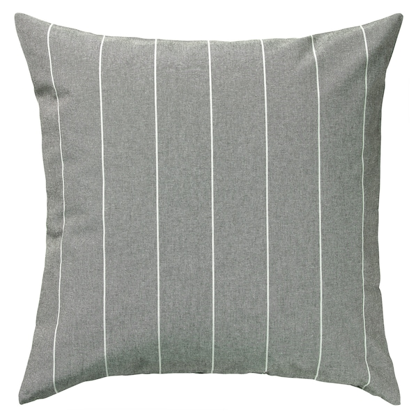 MILDRUN غطاء وسادة, رمادي/مخطط, 50x50 سم