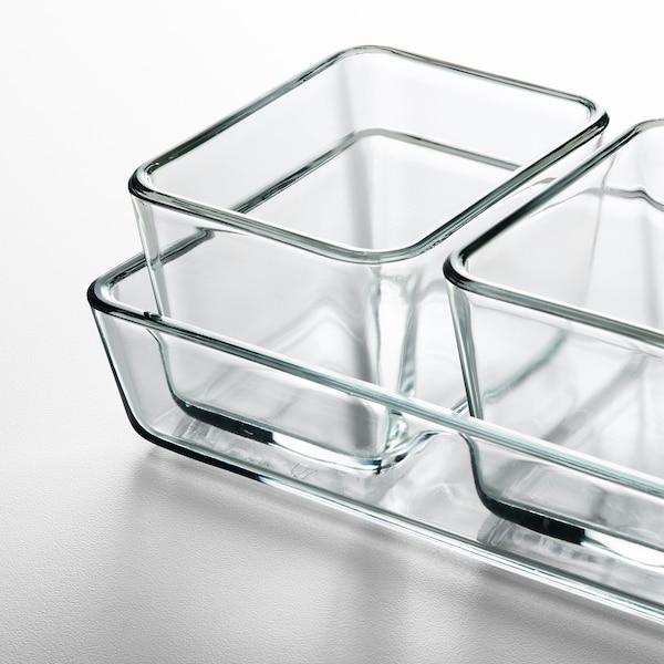 MIXTUR صحن فرن/تقديم طقم من 4., زجاج شفاف
