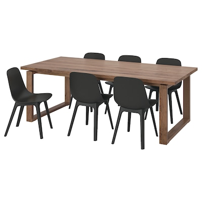 MÖRBYLÅNGA / ODGER Table and 6 chairs, oak veneer/anthracite, 220x100 cm