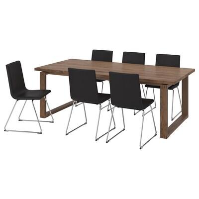 MÖRBYLÅNGA / VOLFGANG Table and 6 chairs, brown/Bomstad black, 220x100 cm