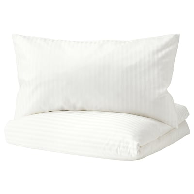 NATTJASMIN غطاء لحاف/مخدة, أبيض, 150x200/50x80 سم