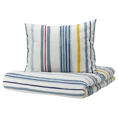 NATTSLÄNDA Duvet cover and pillowcase, stripe pattern/multicolour, 150x200/50x80 cm