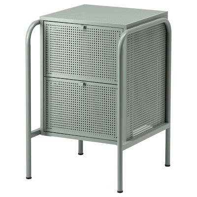 NIKKEBY خزانة بـدرجين, رمادي-أخضر, 46x70 سم