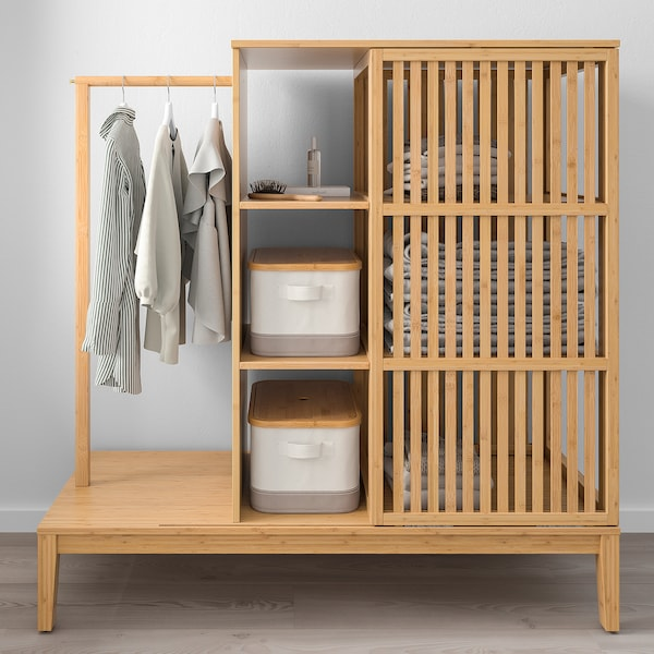 NORDKISA Open wardrobe with sliding door, bamboo, 120x123 cm