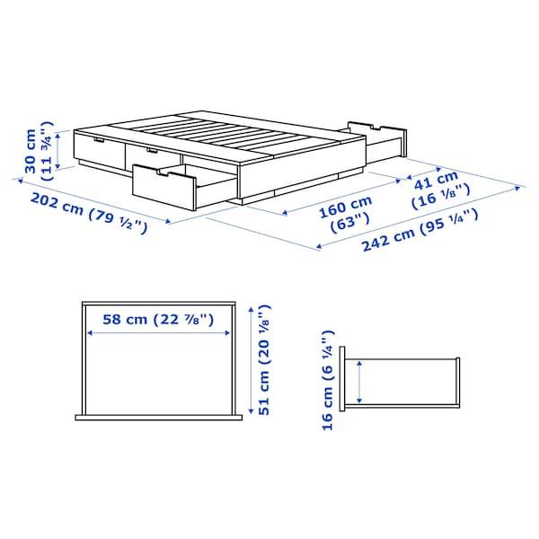 NORDLI هيكل سرير+تخزين, أبيض, 160x200 سم